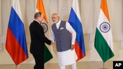 印度总理莫迪在印度果阿举行的金砖国家首脑峰会期间与俄罗斯总统普京举行会谈。(2016年10月15日)