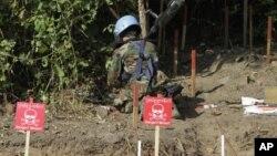 Especialista de minas no Cambodja em trabalho de desminagem