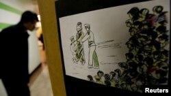 탈북민이 북한에 있을 때 목격한 공개처형 장면을 그린 그림이 서울에서 열린 북한 인권 관련 행사장에 전시됐다. (자료사진)