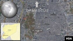 The Yarmouk refugee camp lies just south of Syria's capital, Damascus.