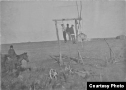 This grim photo shows three Native American men, Paul Holytrack, Alex Cadotte and Philip Ireland, who were lynched for their suspected role in the murder of a white family. Courtesy: State Historical Society of North Dakota, Emmons County Historical Socie