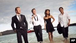 "From left: Scott Caan, Alex O'Loughlin, Grace Park and Daniel Dae Kim star in the television program ""Hawaii Five-0."""
