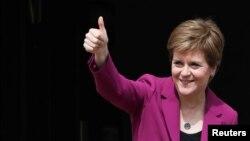 Scotland's First Minister Nicola Sturgeon arrives at Bute House, in Edinburgh, Scotland, Britain, May 9, 2021.