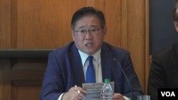 북한에 2년간 억류됐다 풀려난 한국계 미국인 케네스 배 씨가 18일 워싱턴에서 열린 북한 인권 관련 행사에 참석했다.