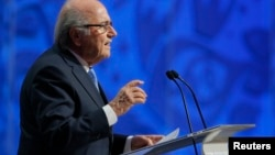 FIFA President Sepp Blatter addresses during the preliminary draw for the 2018 FIFA World Cup at Konstantin Palace in St. Petersburg, Russia July 25, 2015.