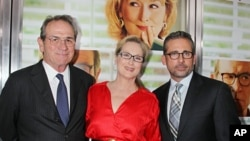 "Tommy Lee Jones, left, Meryl Streep and Steve Carell, right, at the premiere of the Columbia Pictures film ""Hope Springs,"" at the SVA Theatre in New York, Aug 6, 2012."