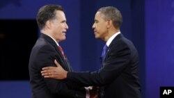Митт Ромни и Барак Обама после завершения дебатов