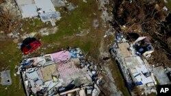 Kuća na Bahamima, uništena u uraganu Dorijan.