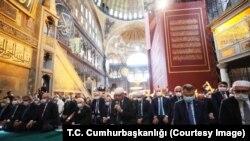 Turkish President Erdogan joined the first prayers at Hagia Sophia