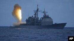 Ảnh do Hải quân Hoa Kỳ cung cấp cho thấy phi đạn SM-3 được phóng đi từ tàu chiến USS Shiloh ngoài khơi bờ biển Kauai ở Hawaii (File hình ảnh)