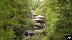 A perfect example of Wright's one-with-nature architecture is Fallingwater, a house that he built for a client in rural Pennsylvania. It was partially constructed atop a waterfall.