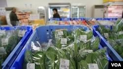 Estas son las espinacas de una cooperativa de agricultores, pero pocos quieren comprar los productos de Nihonmatsu.