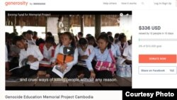 Screenshot of raising fund for Genocide Education Memorial Project on generosity.com.