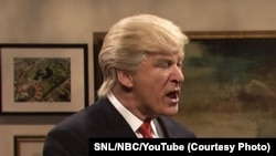 "FILE - Actor Alec Baldwin portrays then-President-elect Donald Trump on ""Saturday Night Live."""