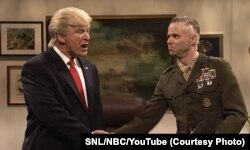 """Actor Alec Baldwin portraying President-elect Donald Trump on Saturday Night Live. The general was eager to hear about Trump's """"secret plan"""" to destroy ISIS."""