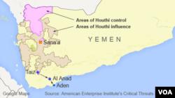Peta wilayah Yaman yang dikuasai Houthi (Foto: dok).