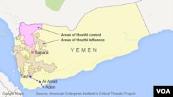 ແຜນທີ່ເຢເມນ ສະແດງໃຫ້ເຫັນເຂດທີ່ພວກະບົດ Houthi ຄວບຄຸມແລະມີອິດທິພົນ.