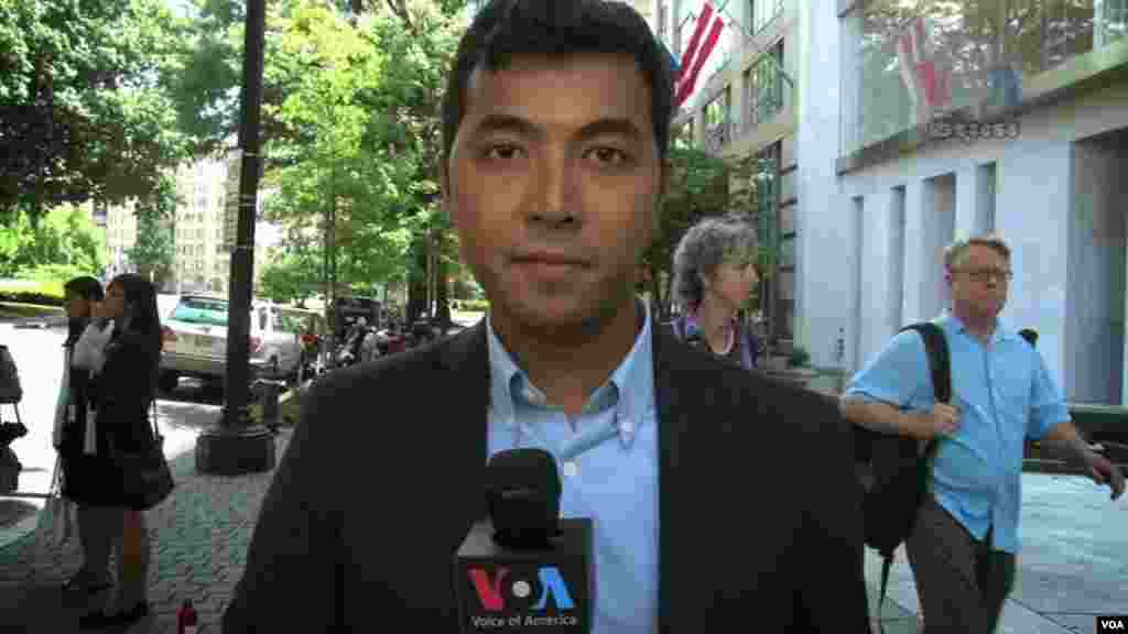 VOA Khmer's Sophat Soeung doing a standup in from of the Center for Strategic and International Studies in Washington, DC, June 23, 2014.