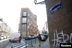 """A street sign which reads """"Henri Berge"""" is pictured in the Brussels district of Schaerbeek, Jan. 8, 2016."""