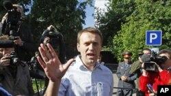 從監獄獲釋後的俄羅斯反對派領導人納瓦爾尼