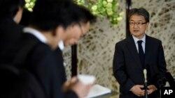 Đặc sứ Mỹ về chính sách Triều Tiên Joseph Yun trả lời câu hỏi của phóng viên ngày 25/4/2017, tại Tokyo.