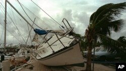 قایقی بادبانی در پياده روی لنگرگاه «دينر کی» شهر ميامی که بر اثر توفان اندرو به آنجا کشيده شده است. ۴ آگوست ۱۹۹۲