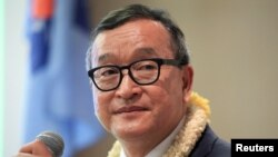 FILE - Cambodian opposition leader Sam Rainsy.