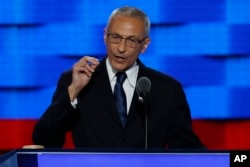 FILE - John Podesta, Clinton Campaign Chairman, speaks during the first day of the Democratic National Convention in Philadelphia, July 25, 2016.