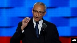 FILE - John Podesta, Hillary Clinton's campaign chairman, speaks during the first day of the Democratic National Convention in Philadelphia , Pennsylvania, July 25, 2016.