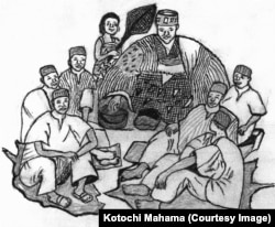 A Safaliba Chief with the elders of his court - Illustration by Kotochi Mahama for Safaliba Literacy Texts