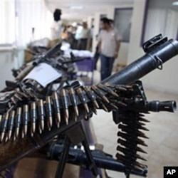 This 2009 file photo shows weapons allegedly confiscated from Jundallah, an armed Sunni opposition group in Zahedan in southeastern Iran