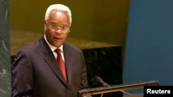 FILE - Edward Lowassa, shown addressing the U.N. General Assembly in 2006, launches his campaign for the ruling party's presidential nomination for Oct. 25, 2015 elections in Tanzania.