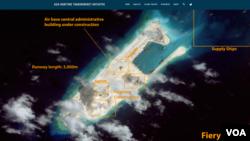 衛星圖片顯示爭議島嶼上飛機跑道建設接近完成(圖片來源:CSIS網頁截屏)