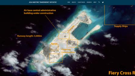 卫星图片显示争议岛屿上飞机跑道建设接近完成(图片来源:CSIS网页截屏)US South China Sea
