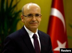 FILE - Turkish Deputy Prime Minister Mehmet Simsek is pictured in Ankara, Dec. 23, 2015.