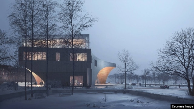 Artist rendition of the new main library at Temple University in Philadelphia, PA. (Credit: Snøhetta/Stantec Architects)