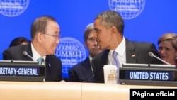 Sec. Gral. de la ONU Ban Ki-moon y presidente Barack Obama en la Cumbre de Líderes sobre Combate al Extremismo.