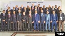 اے سی سی کے نئے صدر نجم الحسن اور سابق صدر احسان مانی و دیگر نمائندے
