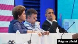 La presidenta Dilma Rousseff, y los presidentes Juan Manuel Santos y Barack Obama en la Clausura de la Cumbre Empresarial.