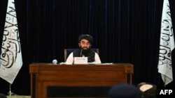 Taliban spokesman Zabihullah Mujahid addresses a press conference in Kabul on September 7, 2021.