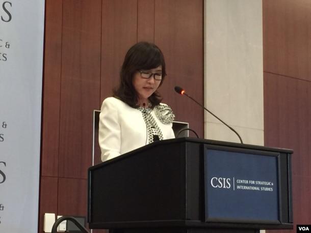 日本防卫大臣稻田朋美在华盛顿发表演讲