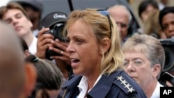 Cathy Lanier, chef de la police de Washington, lors d'un point de presse