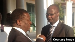 FLASHBACK: Vice President Emmerson Mnangagwa and Education Minister Jonathan Moyo engaged in a discussion at Zimbabwe's State House.