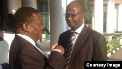IN GOOD TIMES: Emmerson Mnangagwa and Professor Jonathan Moyo