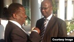 Justice Minister Emmerson Mnangagwa and Information Minister Jonathan Moyo. (Photo/Zanu-PF Live Facebook Page)