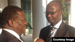 FILE: Vice President Emmerson Mnangagwa and Information Minister Jonathan Moyo.