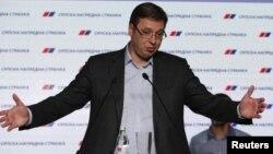 PM Serbia, Aleksandar Vucic memenangkan pemilu dengan selisih suara besar, Senin (25/4).