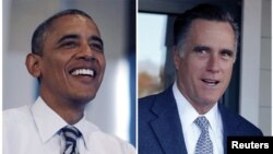 A combination photo shows U.S. President Barack Obama during a visit to a campaign field office in Chicago, and Republican presidential nominee Mitt Romney walking out of the polling station after voting in Belmont, Massachusetts, on election day, November 6, 2012.