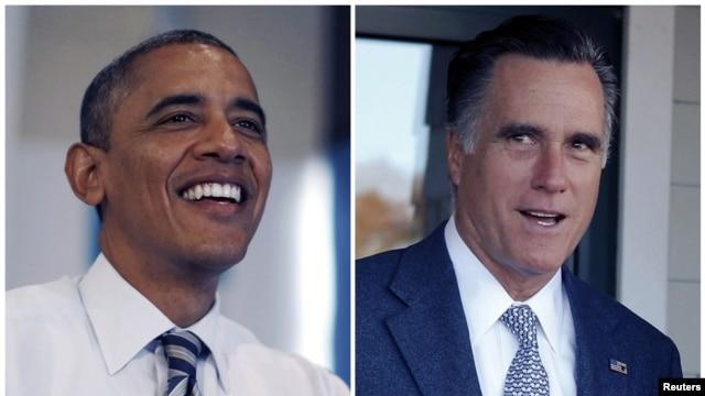 Wagombea wa kiti cha urais Marekani Barack Obama na Mitt Romney.