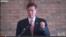 民主黨國會眾議員貝耶在首都華盛頓附近的維吉尼亞的移民權利團體集會上發言資料照 (VOA視頻截圖)